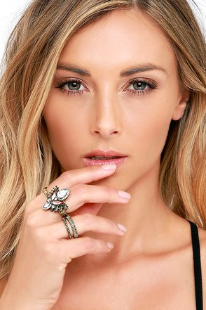 Wonderfully Wild Gold and Clear Ring Set at Lulus.com!
