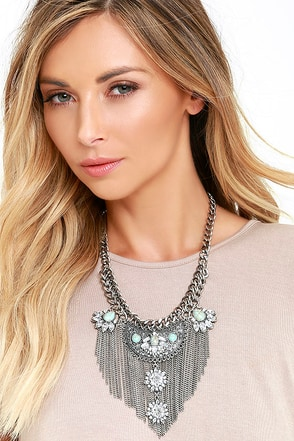 All Its Glory Silver and Turquoise Rhinestone Statement Necklace at Lulus.com!