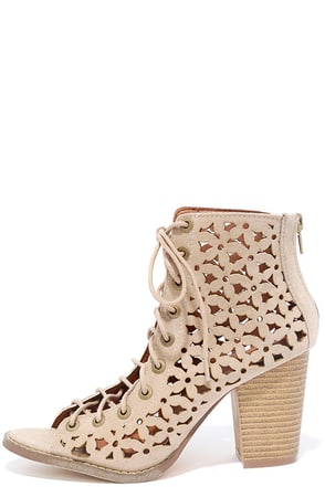 Daisy Fields Beige Suede Cutout Lace-Up Booties at Lulus.com!