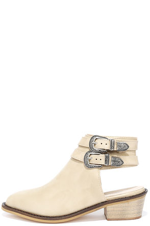 Glamorous Lara Beige Pointed Ankle Boots at Lulus.com!