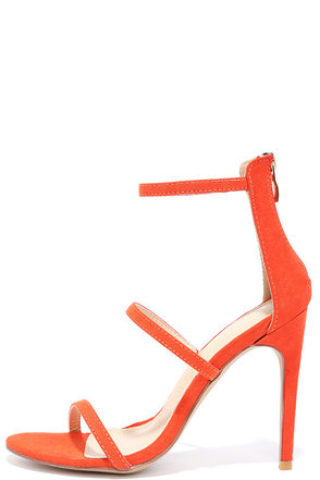 Three Love Orange Suede Dress Sandals at Lulus.com!
