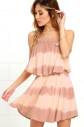 Ideal Island Blush Tie-Dye Strapless Dress at Lulus.com!