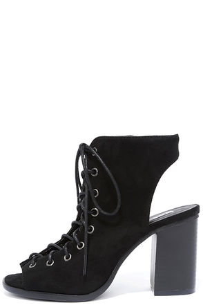 Congrats Black Suede Lace-Up Booties at Lulus.com!