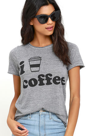 Chaser I Heart Coffee Heather Grey Tee at Lulus.com!