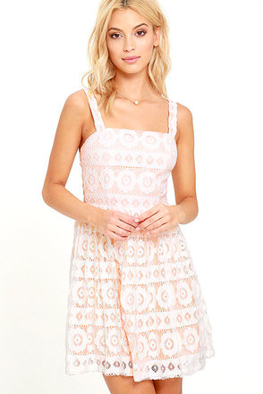 Ready to Glow Ivory and Peach Lace Dress at Lulus.com!