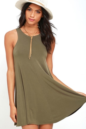 Going Far Olive Green Swing Dress at Lulus.com!