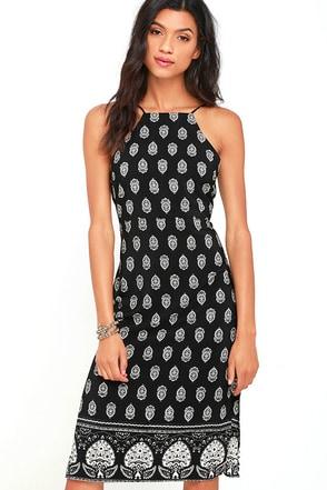 Respeito Black Print Midi Dress at Lulus.com!