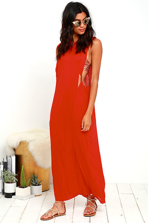 Obey Benny Red Maxi Dress at Lulus.com!