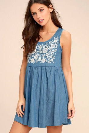 Mary Jane Embroidered Blue Chambray Dress at Lulus.com!