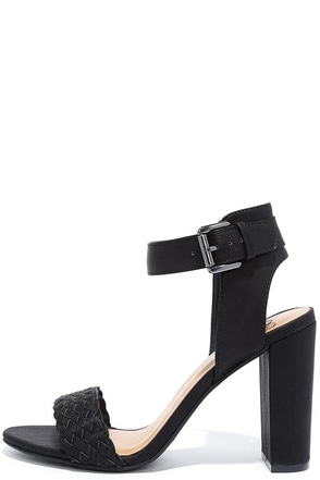 I Heart NY Black Ankle Strap Heels at Lulus.com!