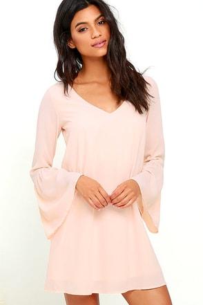 Far Wanderings Peach Long Sleeve Shift Dress at Lulus.com!