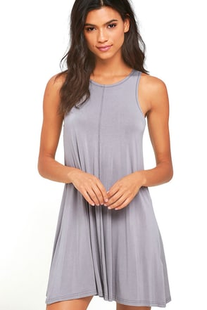Going Far Grey Swing Dress at Lulus.com!