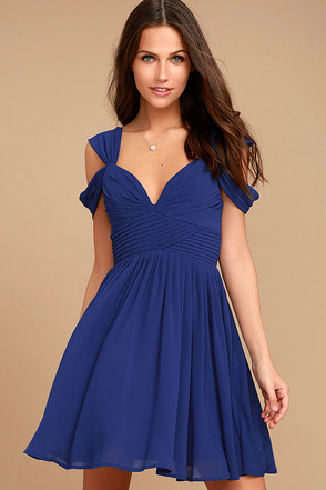 Come Away With Me Royal Blue Skater Dress at Lulus.com!