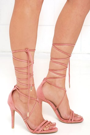 Sadie Blush Pink Suede Lace-Up Heels at Lulus.com!