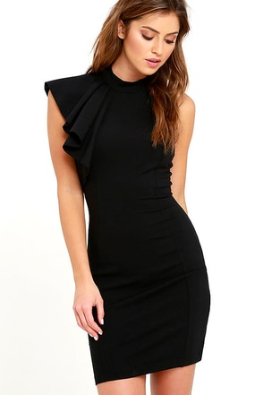 Au Revoir Black Bodycon Dress at Lulus.com!