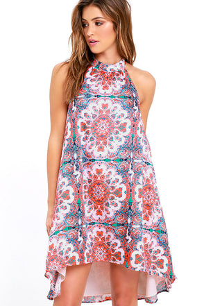 Mink Pink How's the Serenity Pink Print Halter Dress at Lulus.com!
