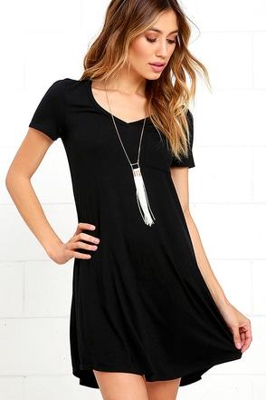 Better Together Black Shirt Dress at Lulus.com!