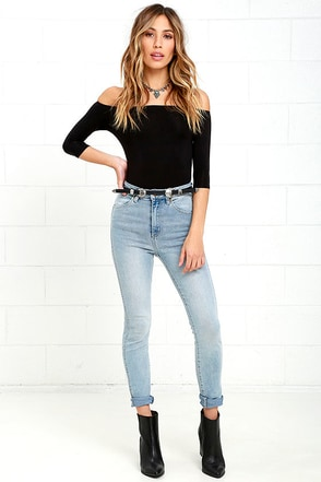 Rollas Eastcoast Ankle Christy Blue High-Waisted Skinny Jeans at Lulus.com!