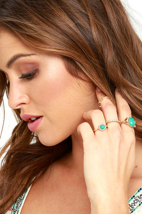 Creature of Habit Gold and Turquoise Ring Set at Lulus.com!