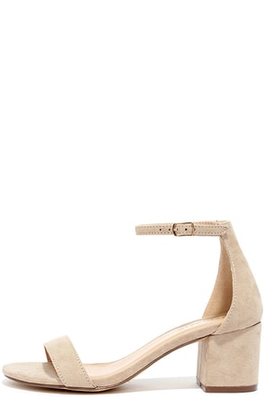 Babe Squad Natural Suede Heeled Sandals at Lulus.com!