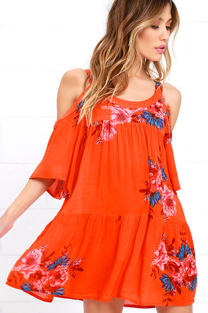 O'Neill Corrie Orange Floral Print Shift Dress at Lulus.com!