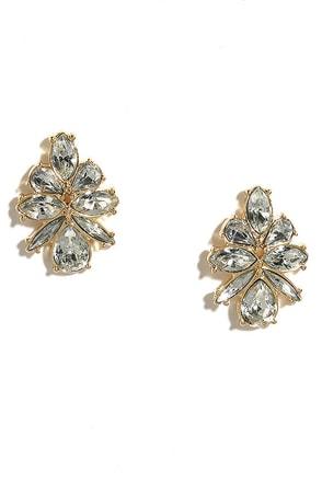 Brisk Breeze Gold Rhinestone Earrings at Lulus.com!
