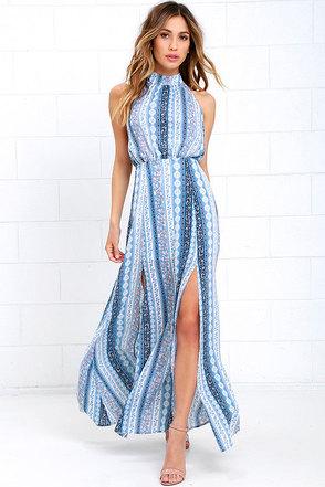 Daily at Dawn Light Blue Print Halter Maxi Dress at Lulus.com!