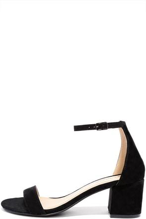 Babe Squad Black Suede Heeled Sandals at Lulus.com!