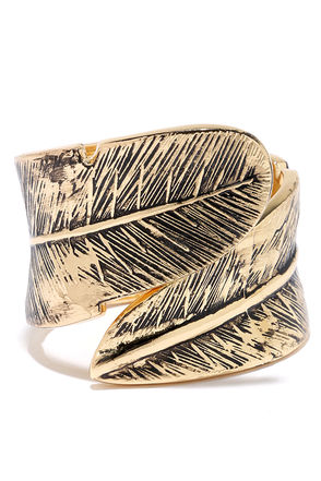 Give Me Wings Gold Cuff Bracelet at Lulus.com!
