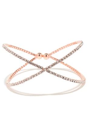 Extra Special Rose Gold Rhinestone Bracelet at Lulus.com!