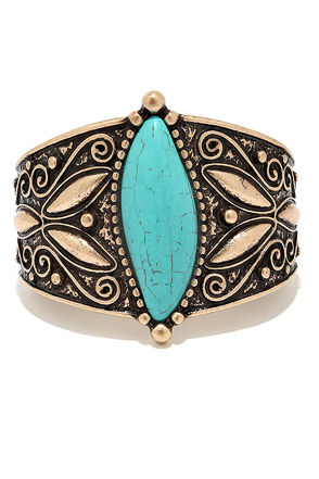 Reign Forest Turquoise and Silver Bracelet at Lulus.com!
