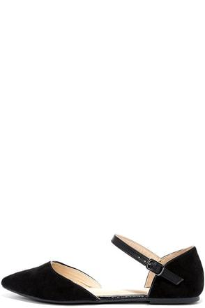 Special Interest Black Suede Ankle Strap Flats at Lulus.com!