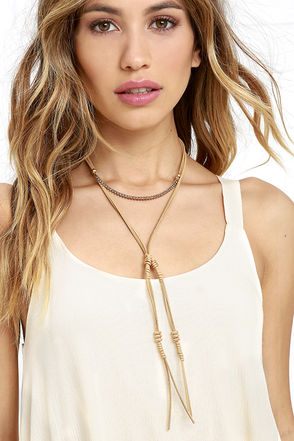 Full Gear Gold and Beige Layered Choker Necklace at Lulus.com!