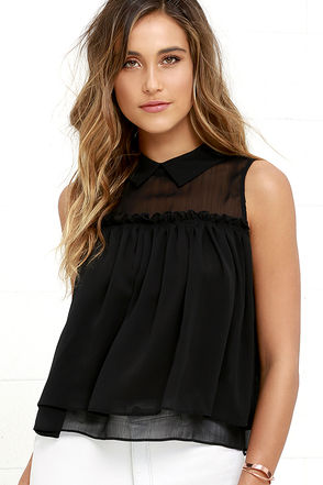 Collar Me Cute Black Top at Lulus.com!