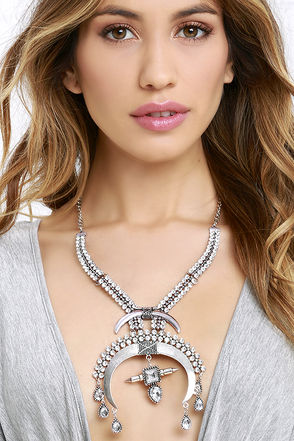 Bedrock Babe Silver Rhinestone Statement Necklace at Lulus.com!