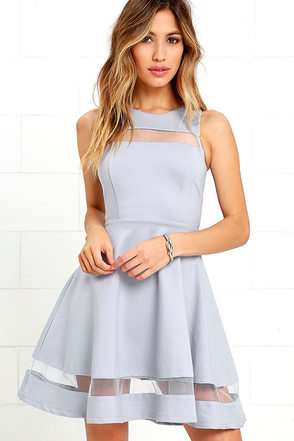 Sheer Determination Blue Grey Mesh Skater Dress at Lulus.com!