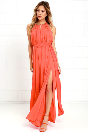 Gleam and Glide Orange Maxi Dress at Lulus.com!
