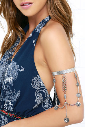 Evocative Artifact Silver Arm Cuff at Lulus.com!