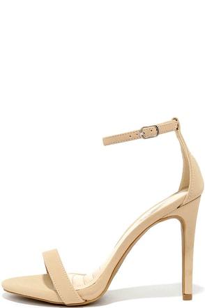 Loveliness Nude Nubuck Ankle Strap Heels at Lulus.com!