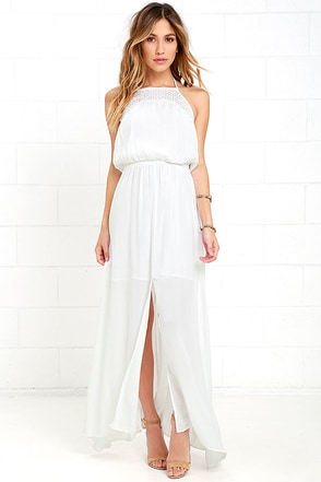 Olive & Oak Haven Ivory Lace Halter Maxi Dress at Lulus.com!