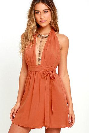 Positively Perfect Burnt Orange Wrap Dress at Lulus.com!