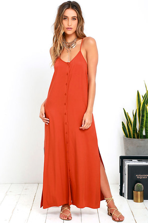 Friday I'm in Love Burnt Orange Maxi Dress at Lulus.com!
