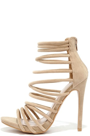 Crosswalk Nude Suede Caged Heels at Lulus.com!