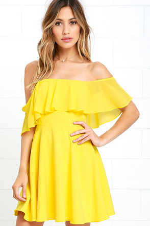 Flutter On By Yellow Off-the-Shoulder Skater Dress at Lulus.com!