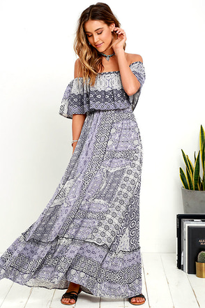 Coast Traveler Purple Print Off-the-Shoulder Maxi Dress at Lulus.com!