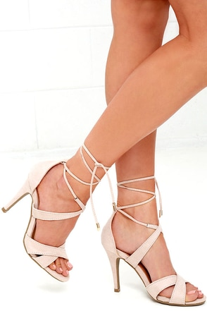 Sweet Things Nude Suede Lace-Up Heels at Lulus.com!