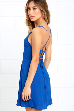 Party Playlist Blue Lace-Up Dress at Lulus.com!