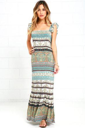Mila Boho Turquoise Print Maxi Dress at Lulus.com!