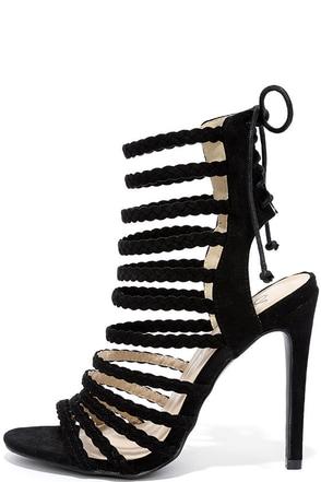Braid Away Nude Suede Caged Heels at Lulus.com!