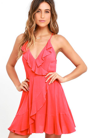 Ruffle My Feathers Coral Pink Lace-Up Dress at Lulus.com!